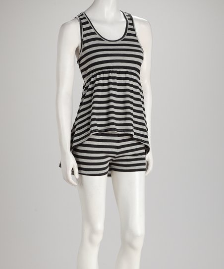 Black Stripe Hi-Low Top & Shorts - Women
