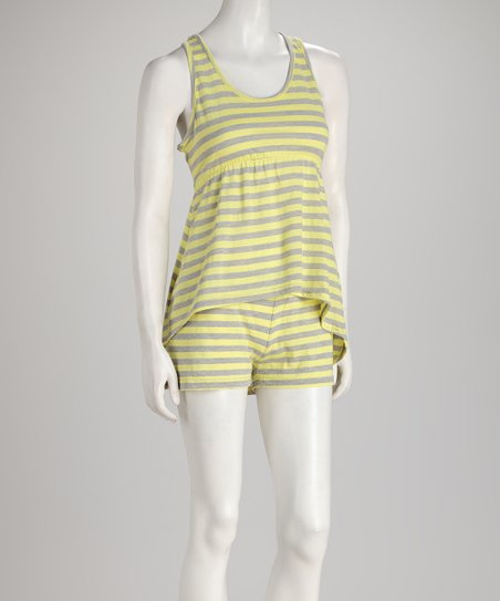 Yellow Stripe Hi-Low Top & Shorts - Women