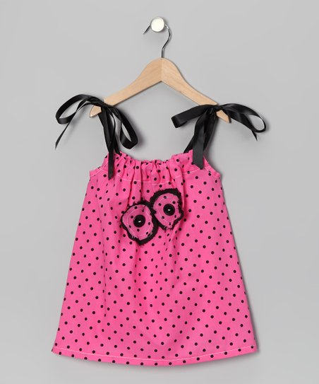 Pink & Black Polka Dot Swing Dress - Infant, Toddler & Girls