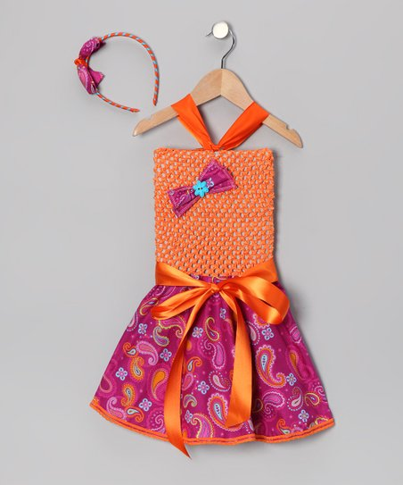 Orange Paisley Crochet Dress &amp; Headband - Infant, Toddler &amp; Girls