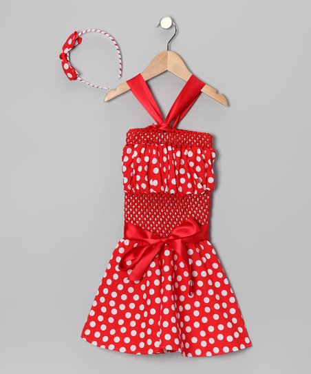 Red Polka Dot Crochet Dress & Headband - Infant, Toddler & Girls