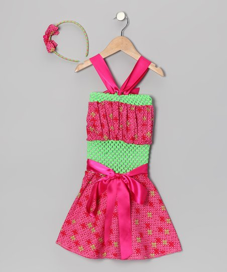 Pink Geometric Crochet Dress &amp; Headband - Infant, Toddler &amp; Girls