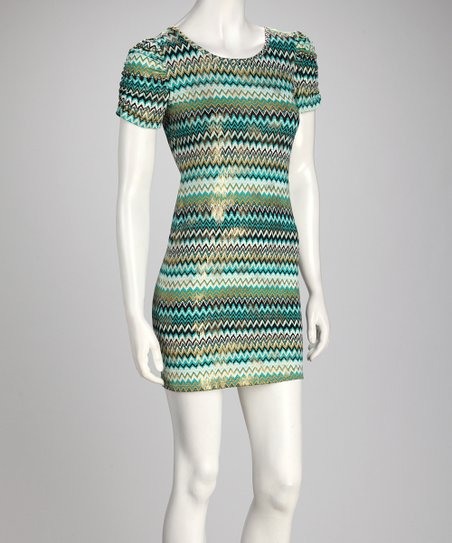 Teal Zigzag Dress