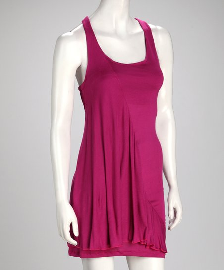 Fuchsia Scoop Neck Dress
