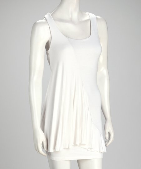White Scoop Neck Dress