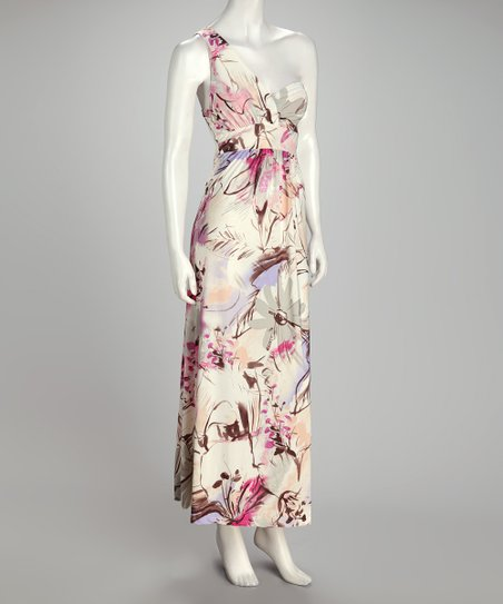 Lilac &amp; Pink Watercolor Asymmetrical Maxi Dress