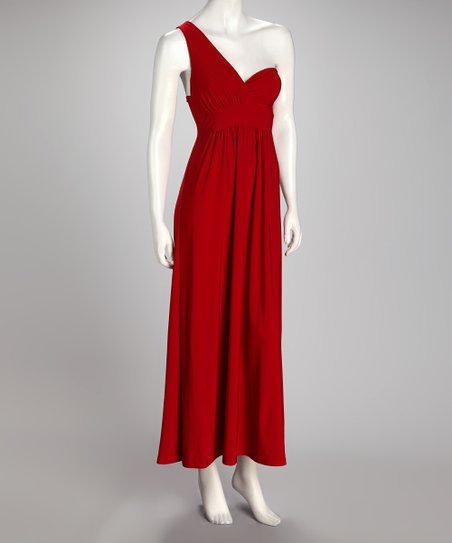 Red Asymmetrical Maxi Dress
