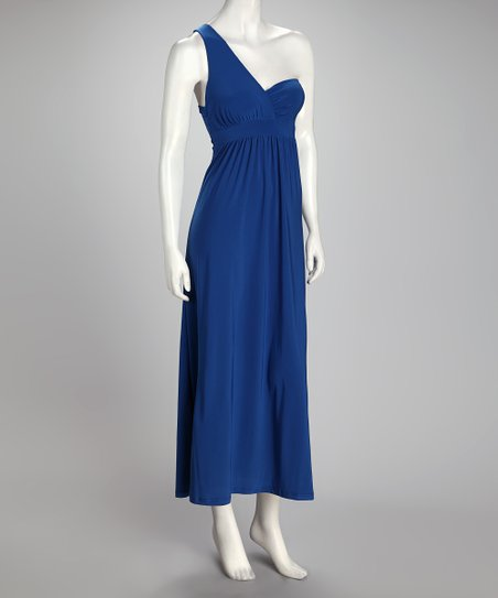 Royal Blue Asymmetrical Maxi Dress