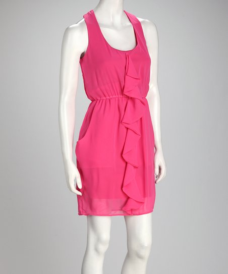 Fuchsia Ruffle Chiffon Sleeveless Dress