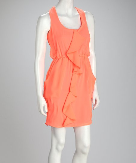 Neon Orange Ruffle Chiffon Sleeveless Dress