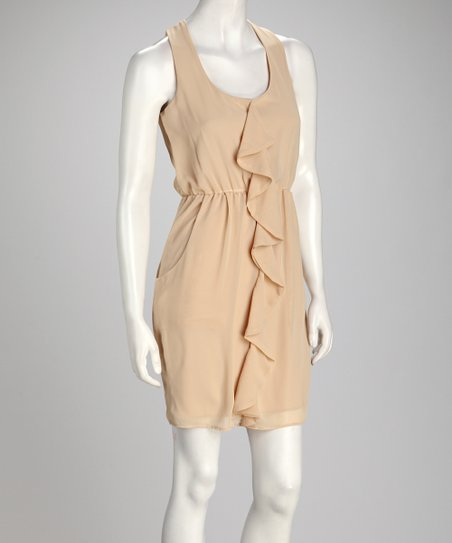 Taupe Ruffle Sleeveless Dress