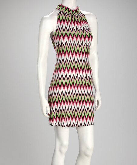 Lime & Fuchsia Chevron Dress