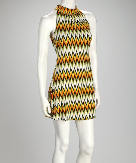 Yellow & Lime Chevron Dress