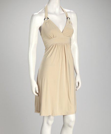 Beige Halter Dress