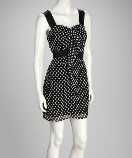Black & White Polka Dot Sleeveless Dress