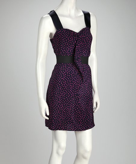 Navy & Pink Polka Dot Sleeveless Dress