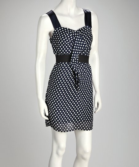 Navy & White Polka Dot Sleeveless Dress