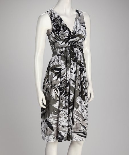 Gray &amp; Black Floral Empire-Waist Dress