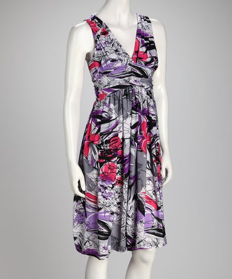 Purple & Pink Floral Empire-Waist Dress