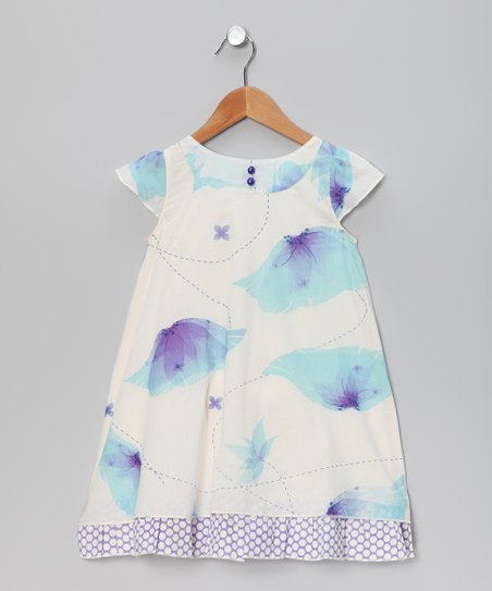 White & Blue Ambrosia Flower Dress - Toddler & Girls