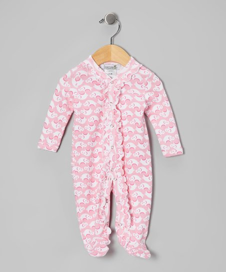 Pink Elephant Ruffle Footie