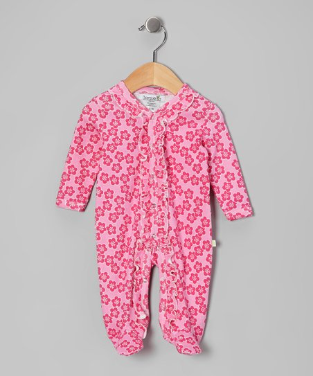 Pink Flower Ruffle Footie