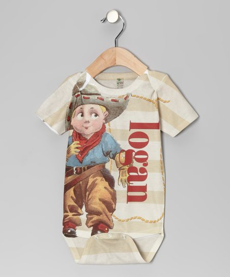 Tan Stripe Cowboy Personalized Bodysuit - Infant