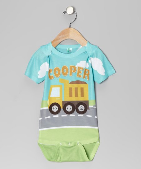 Aqua Dump Truck Personalized Bodysuit - Infant