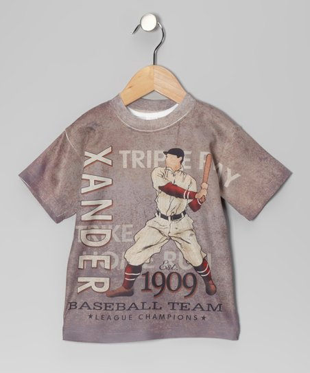 Gray Baseball Personalized Tee - Toddler & Kids