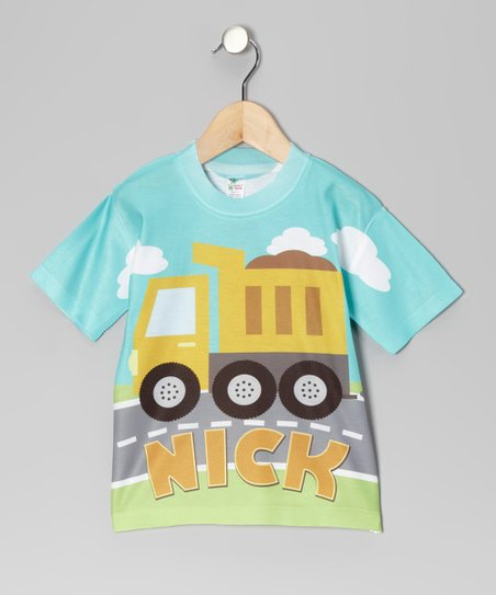 Aqua Dump Truck Personalized Tee - Toddler & Kids