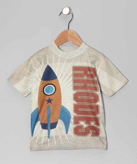 Tan Stripe Rocket Personalized Tee - Toddler & Kids