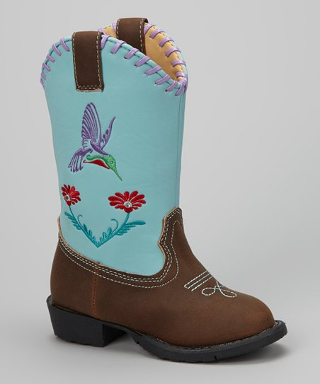 Brown & Turquoise Austin Light-Up Cowboy Boot - Kids