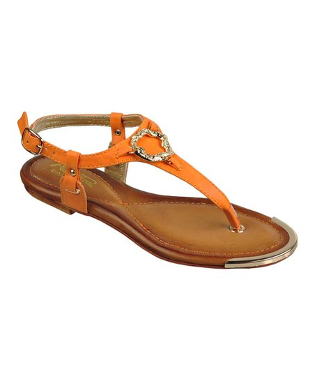 Tangerine & Silver Accent T-Strap Sandal