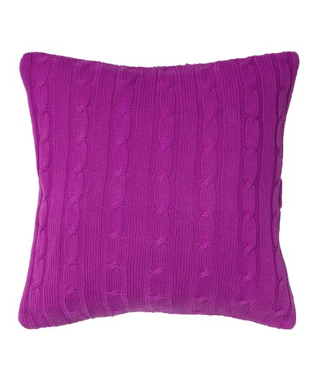 Raspberry Cable-Knit Throw Pillow