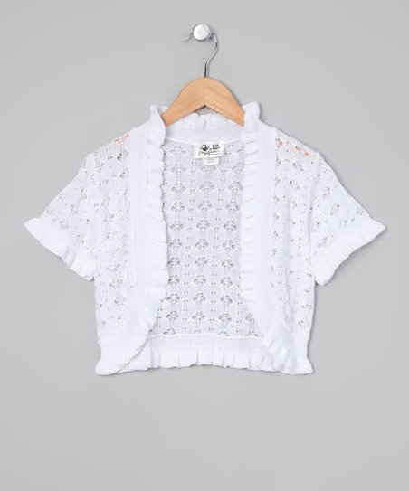 fingerprints White Open-Knit Shrug - Toddler & Girls