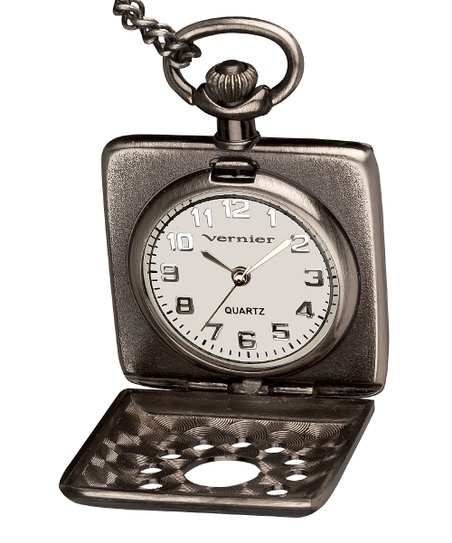 Antique Silver Square Peak-A-Boo Pendant Pocket Watch
