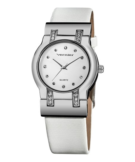 White & Silver Round Watch