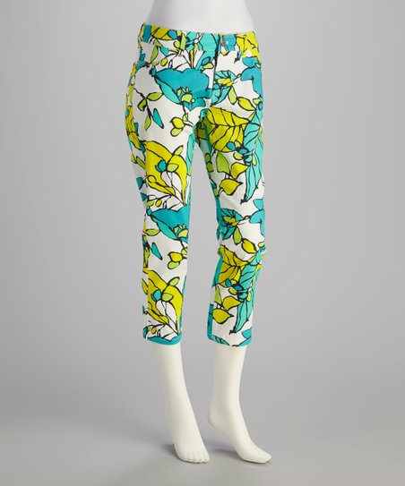Turquoise Riviera Bloom Cropped Pants