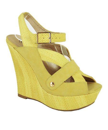 Yellow Snakeskin Bikini Wedge Sandal