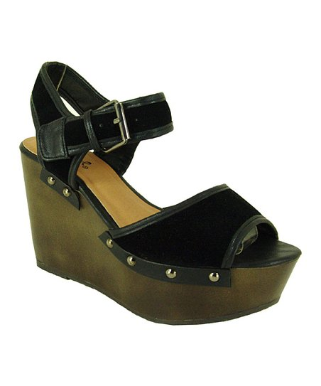Black Velvet Fifi Wedge Sandal