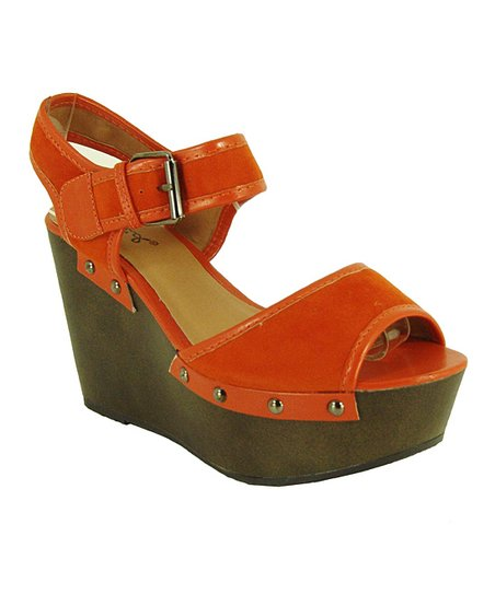 Orange Velvet Fifi Wedge Sandal