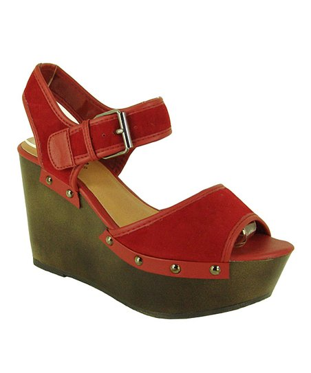 Red Velvet Fifi Wedge Sandal