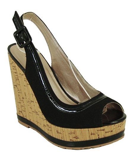 Black Keeper Peep-Toe Wedge