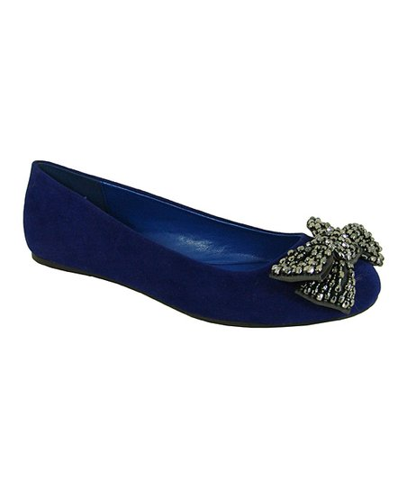 Royal Blue Velvet Serina Flat