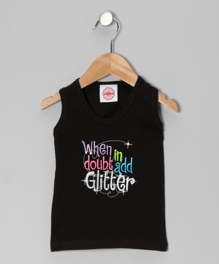 Black 'Add Glitter' Tank - Infant, Toddler & Girls