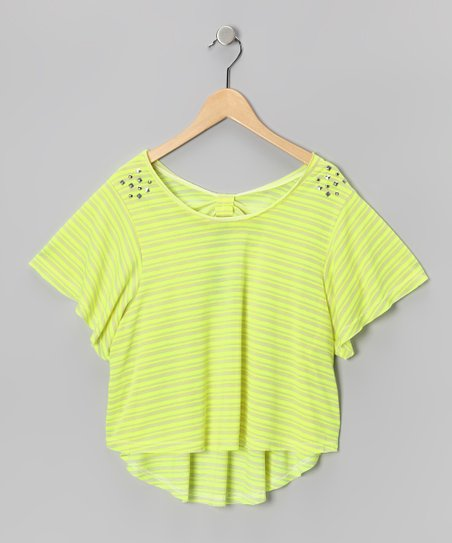 Green Stripe Bow Tee
