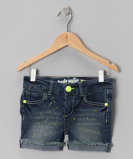 Medium Wash & Yellow Splatter Shorts