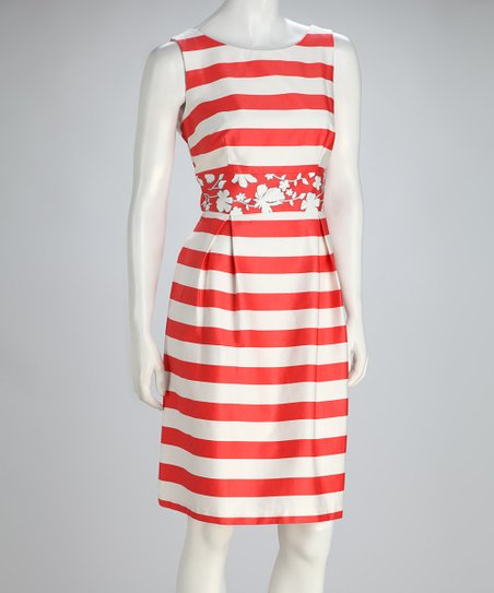 Coral &amp; White Stripe Pleated Sleeveless Dress