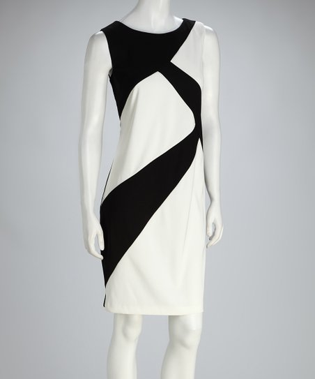 Black & White Asymmetrical Color Block Shift Dress