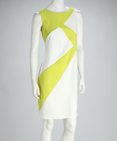 Lime & White Asymmetrical Color Block Shift Dress